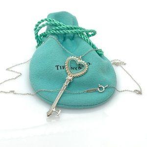 Tiffany & Co. Beaded Heart Key Pendant Necklace